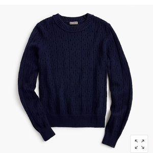 J Crew Point Sur Pointelle Crewneck Sweater